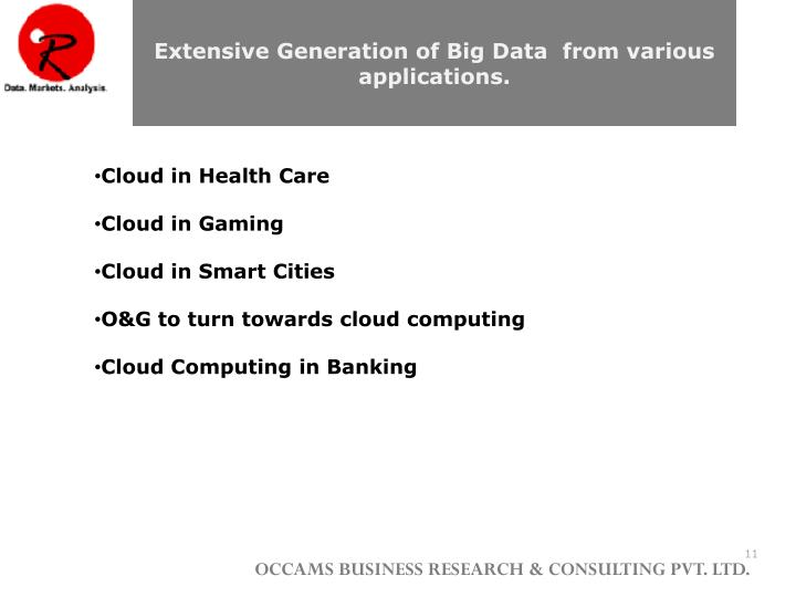 Extensive Generation of Big Data  from various applications.
