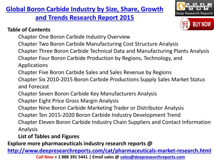 Global Boron Carbide Industry by Size, Share, Growth and Trends Research Report 2015