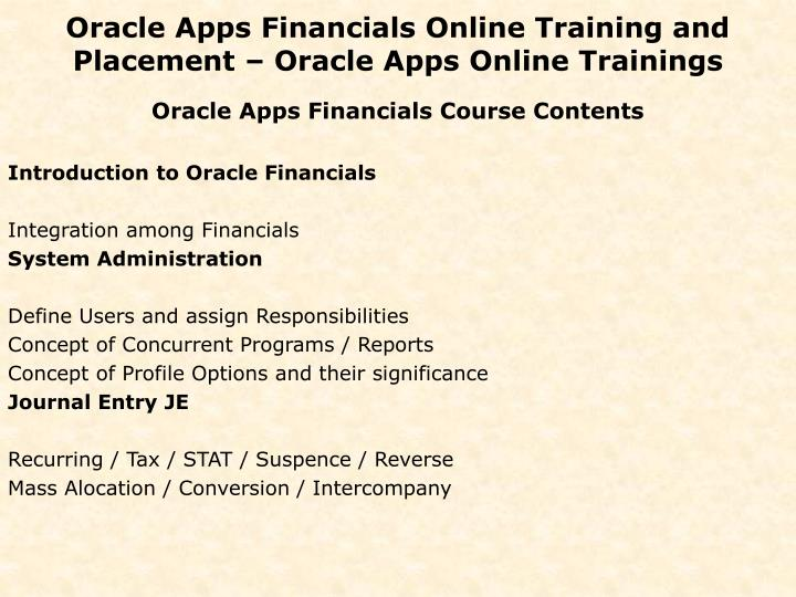 Oracle apps financials online training and placement oracle apps online trainings