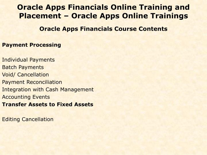 Oracle Apps Financials Online Training and Placement – Oracle Apps Online Trainings