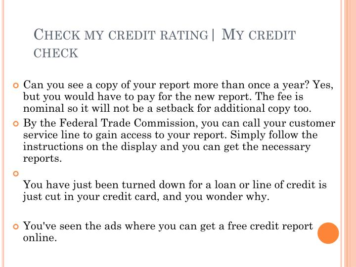Check my credit rating my credit check