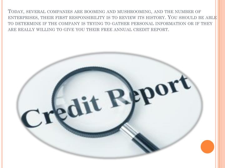 Today, several companies are booming and mushrooming, and the number of enterprises, their first responsibility is to review its history. You should be able to determine if the company is trying to gather personal information or if they are really willing to give you their free annual credit report.