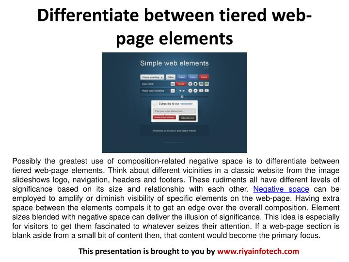Differentiate between tiered web page elements