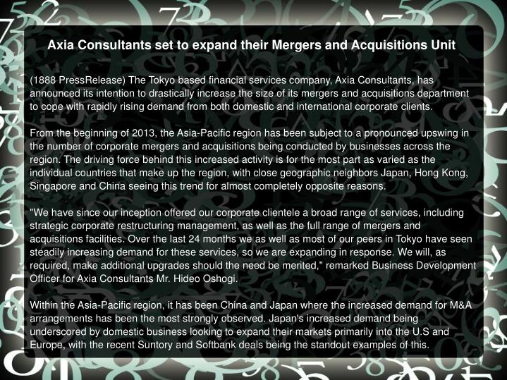 Axia Consultants set to expand their Mergers and Acquisitions Unit