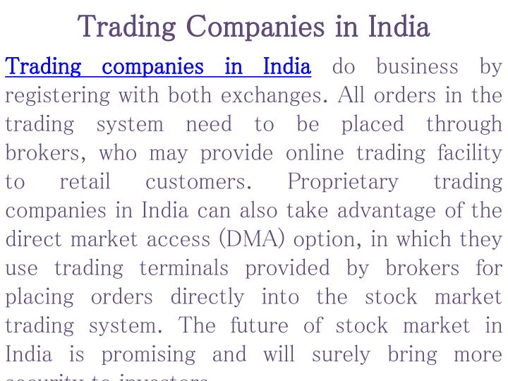 Trading companies in india