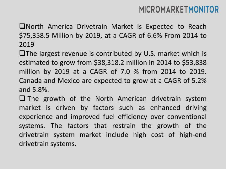 North America Drivetrain Market is Expected to Reach $75,358.5 Million by 2019, at a CAGR of 6.6% Fr...
