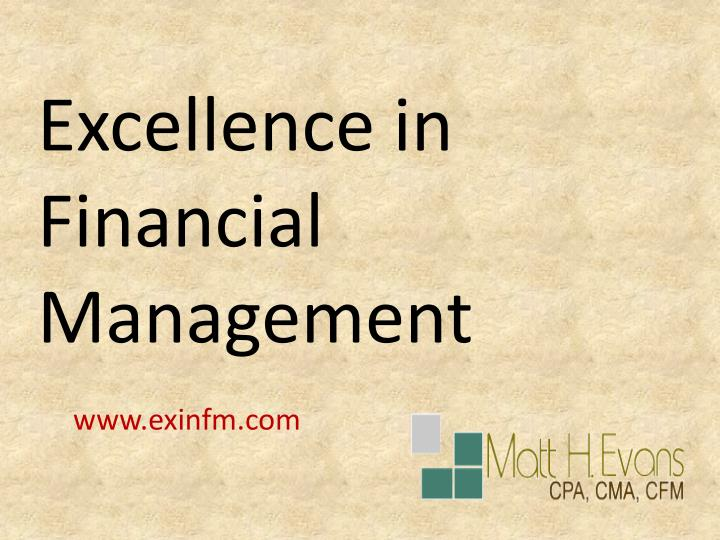 Excellence in Financial Management