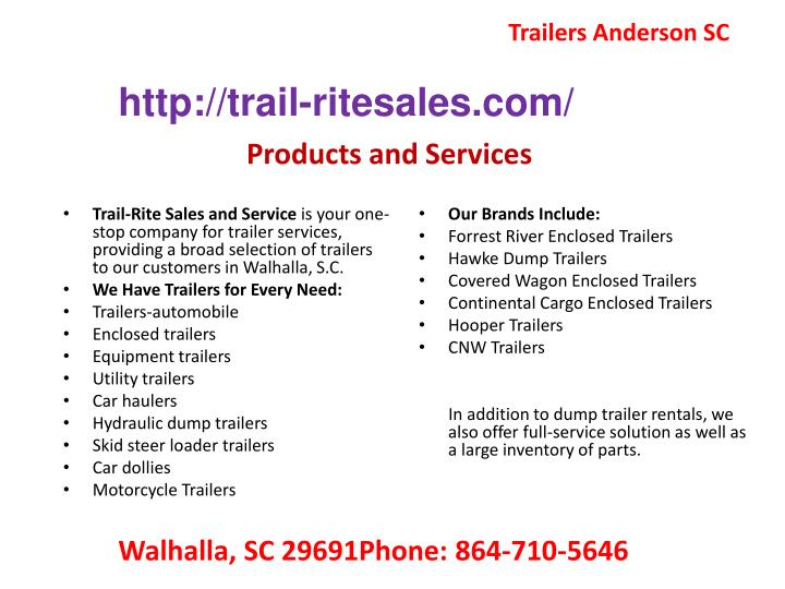 Trailers Anderson SC