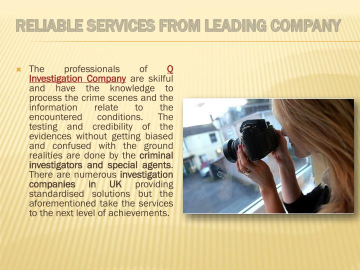 Reliable Services from Leading Company