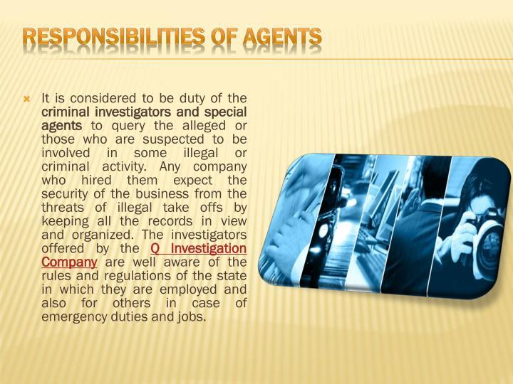 Responsibilities of Agents