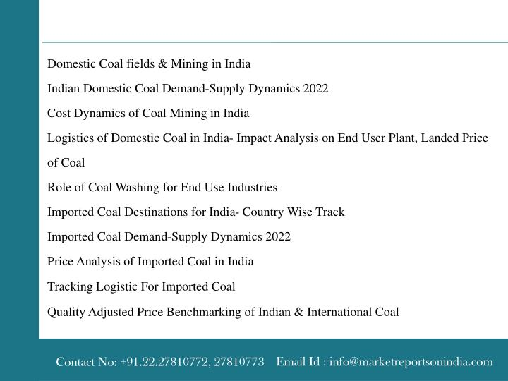 Domestic Coal fields & Mining in India