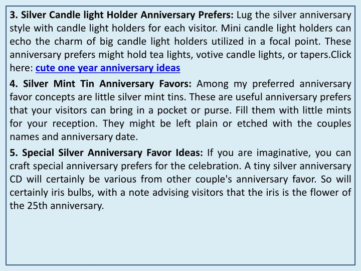 3. Silver Candle light Holder Anniversary Prefers: