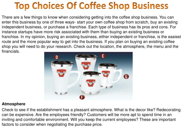 Top choices of coffee shop business