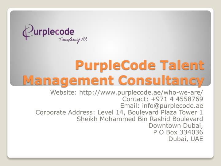 Purplecode talent management consultancy