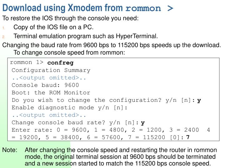 Download using Xmodem from