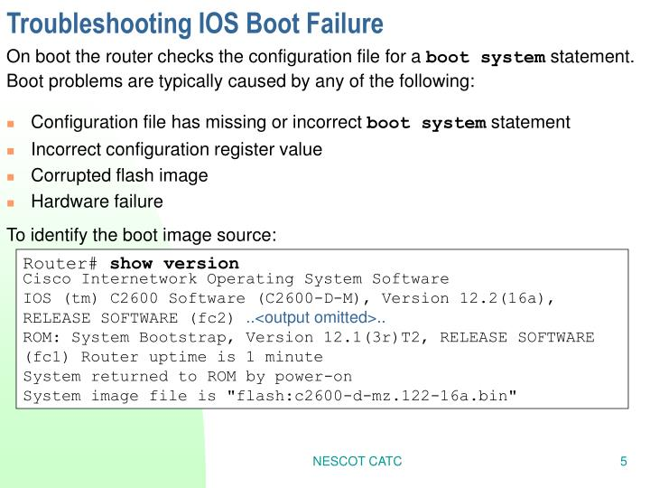 Troubleshooting IOS Boot Failure