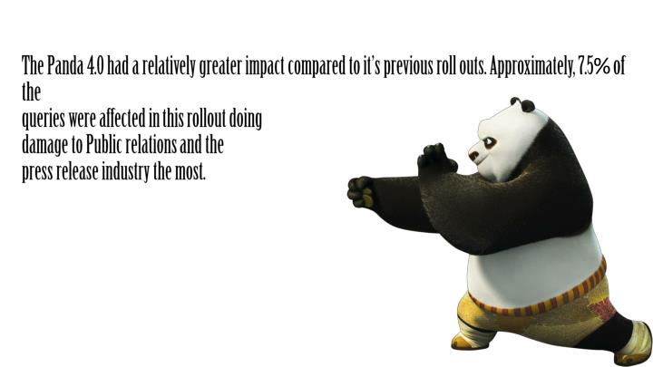 The Panda 4.0 had a relatively greater impact compared to it's previous roll outs. Approximately, 7.5