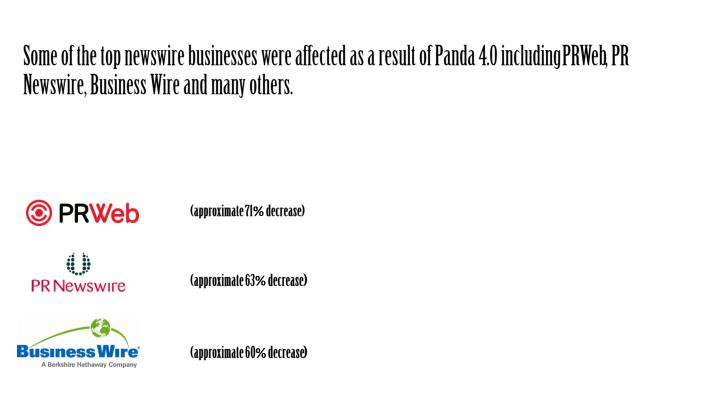 Some of the top newswire businesses were affected as a result of Panda 4.0 including