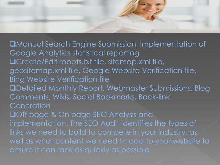 Manual Search Engine Submission, Implementation of Google Analytics statistical