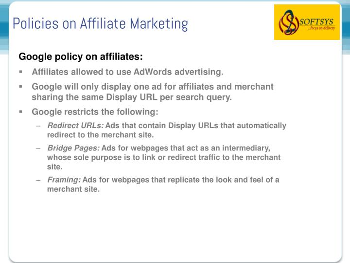 Policies on Affiliate Marketing
