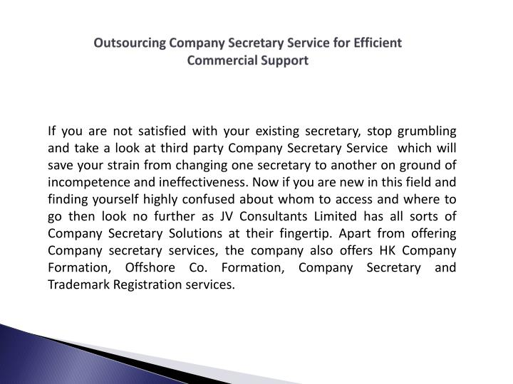 Outsourcing Company Secretary Service for Efficient Commercial Support