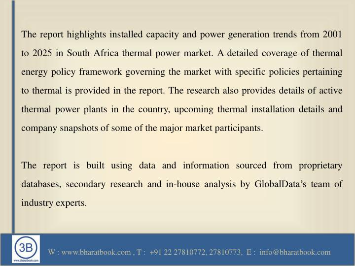 The report highlights installed capacity and power generation trends from 2001 to 2025 in South Afri...