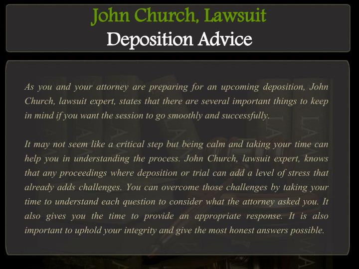 John Church, Lawsuit