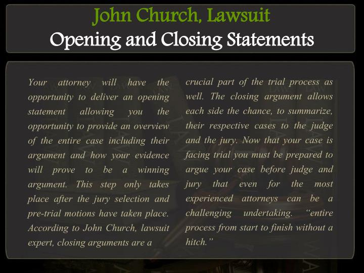 John church lawsuit opening and closing statements