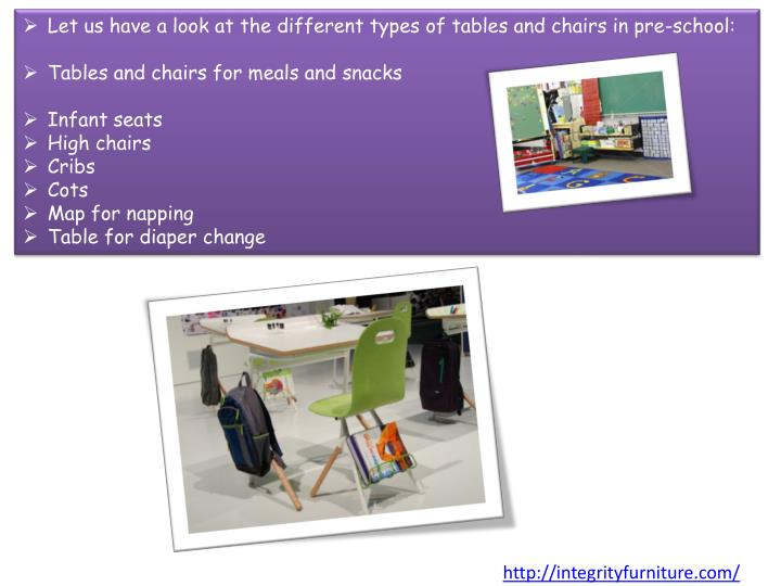 Let us have a look at the different types of tables and chairs in pre-school: