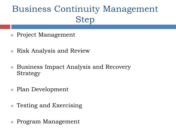 Business Continuity Management Step