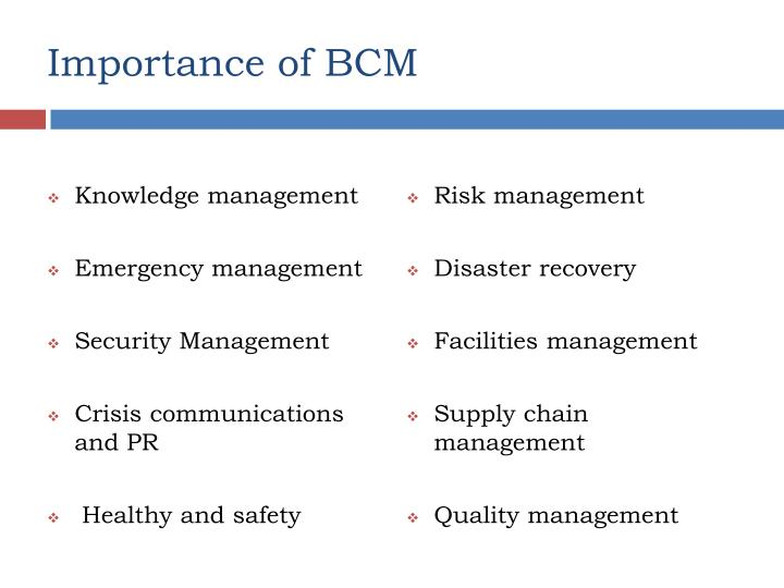 Importance of BCM