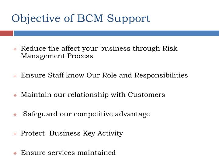 Objective of BCM Support