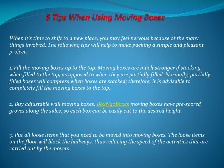 6 Tips When Using Moving Boxes