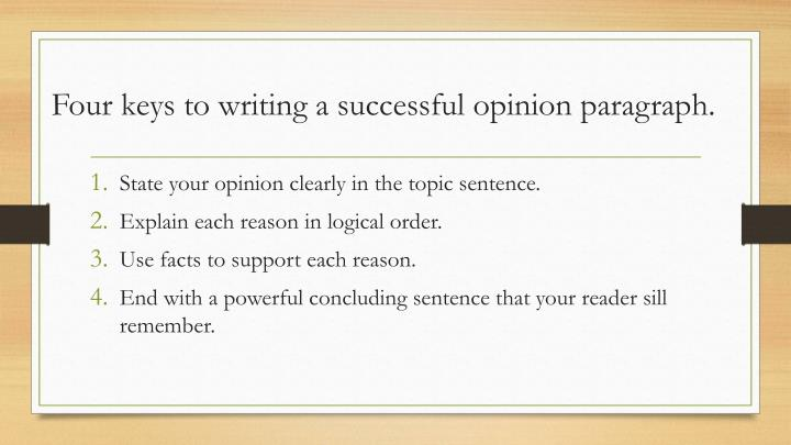 Four keys to writing a successful opinion paragraph.