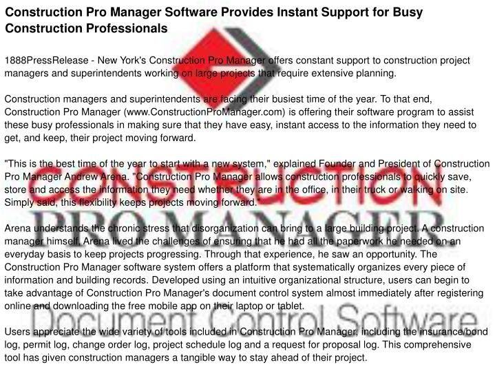 Construction Pro Manager Software Provides Instant Support for Busy Construction Professionals