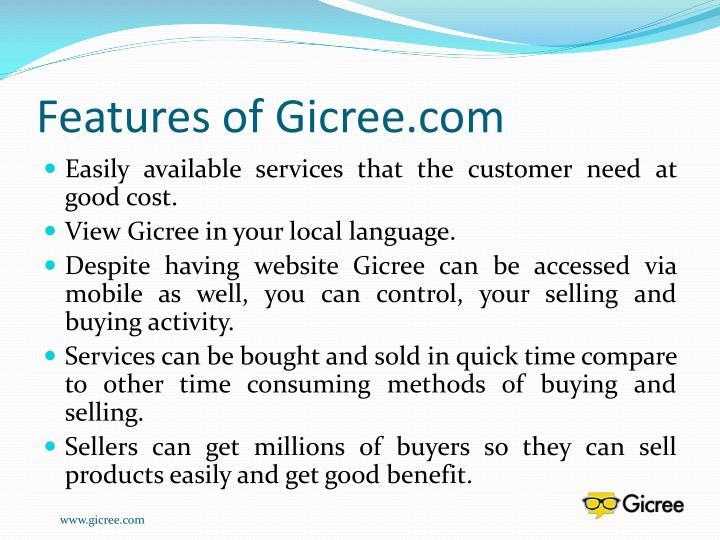 Features of Gicree.com