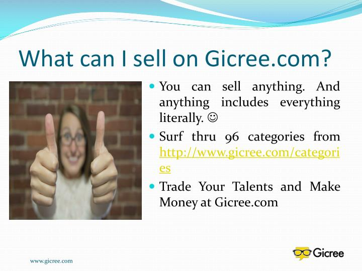 What can I sell on Gicree.com?