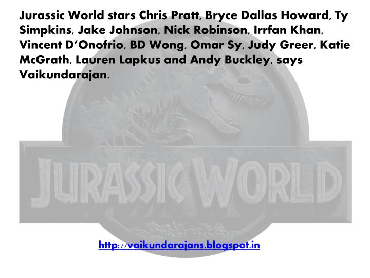 Jurassic World stars Chris