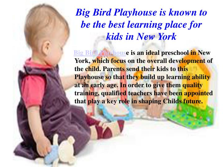 Big Bird Playhouse is known to be the best learning place for kids in New York