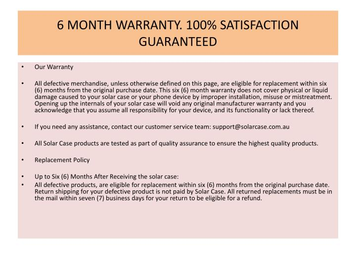 6 MONTH WARRANTY. 100% SATISFACTION GUARANTEED