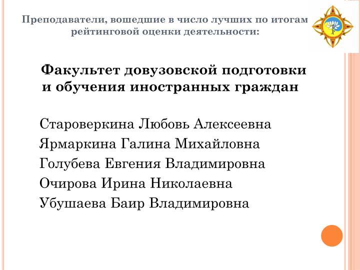 Факультет довузовской подготовки и обучения иностранных граждан