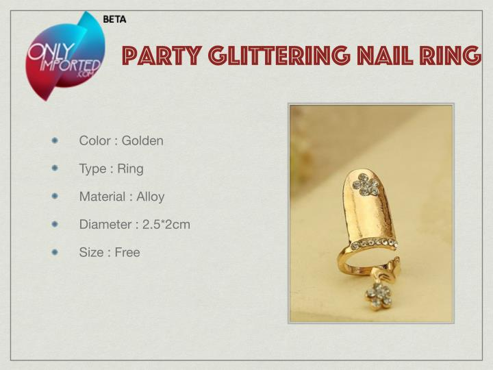 party glittering nail ring
