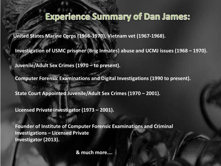 Experience Summary of Dan James: