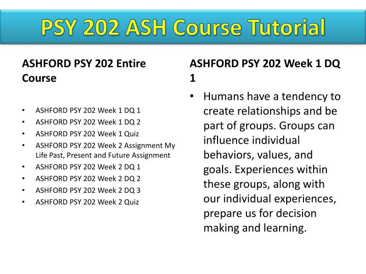 PSY 202 ASH Course