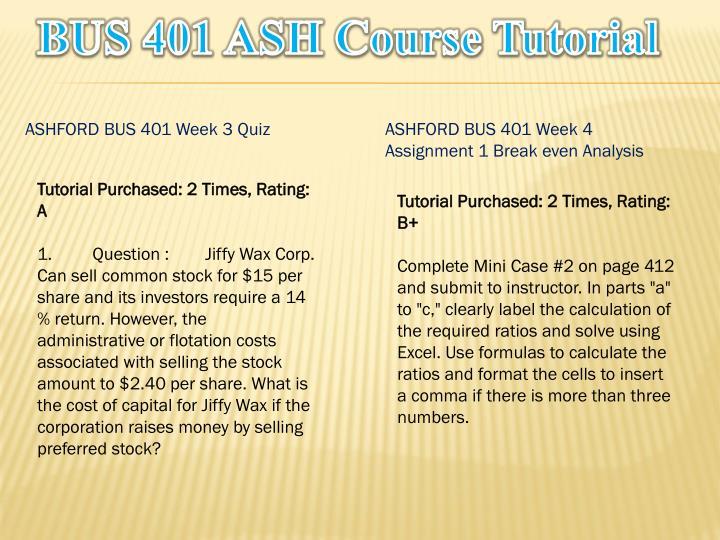 BUS 401 ASH
