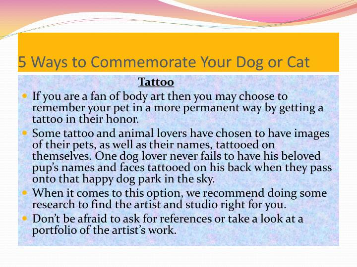 5 Ways to Commemorate Your Dog or Cat
