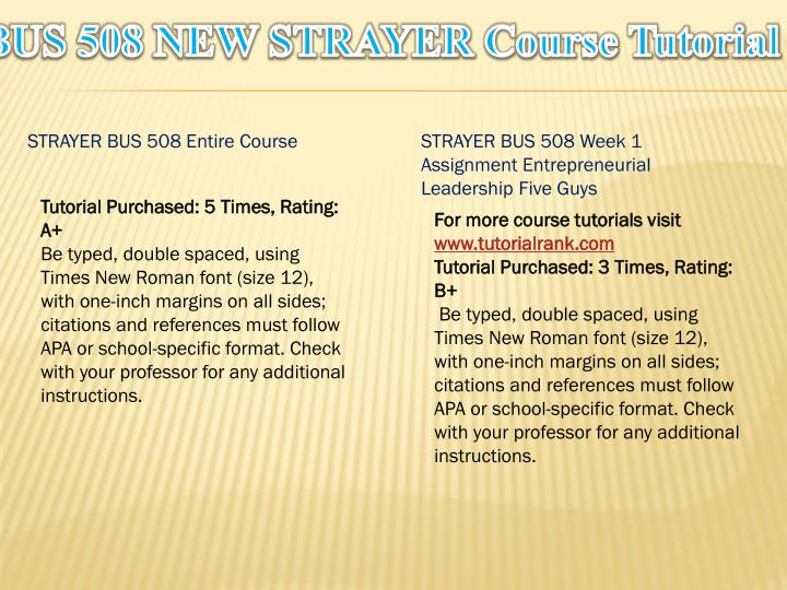 Bus 508 new strayer course tutorial