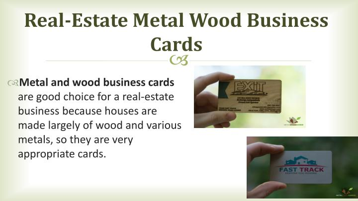 Real-Estate Metal Wood Business Cards