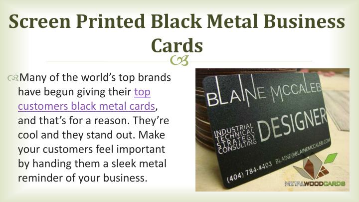 Screen Printed Black Metal Business Cards