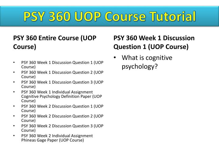 PSY 360 UOP
